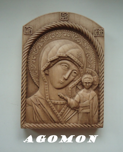 Фото для Икона Божией Матери Казанская, 140х100х20 мм, резьба по дереву, клен, цветной воск