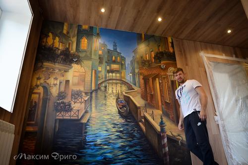 Фото для Вечерняя Венеция. Роспись стен. По мотивам художника Е.Лушпина